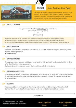 House Sales Contract One Pager Presentation Report Infographic PPT PDF Document
