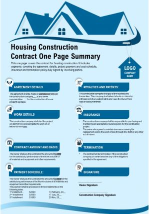 Housing Construction Contract One Page Summary Presentation Report Infographic PPT PDF Document