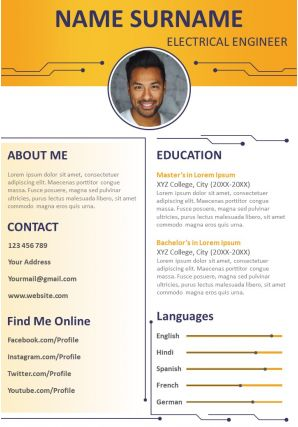 Impressive Business Visual Resume Design Powerpoint Template