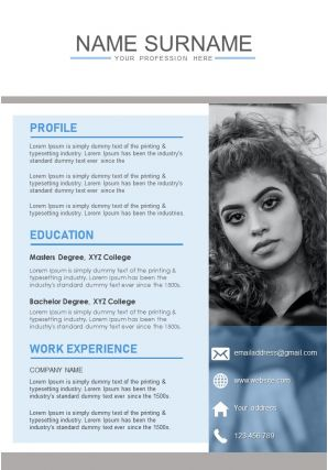 Impressive CV Format With Work History