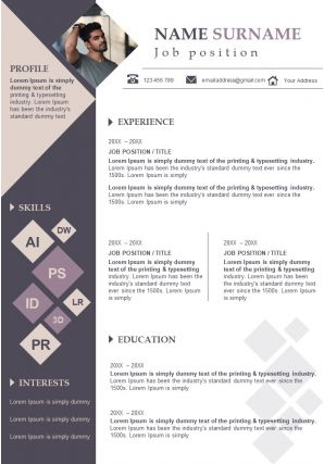 Impressive CV Resume Sample Editable Powerpoint Template