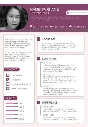 Impressive Resume And CV Design Fully Editable A4 Template