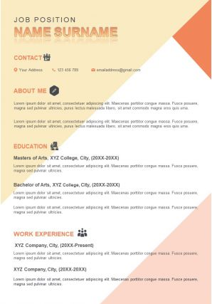 Impressive Resume Sample A4 Design Template To Introduce Yourself
