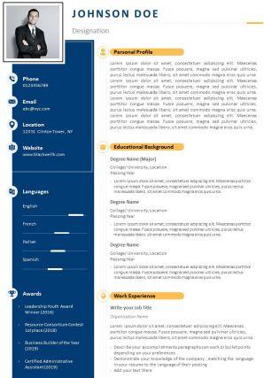 Impressive Visual CV Format For Job Search