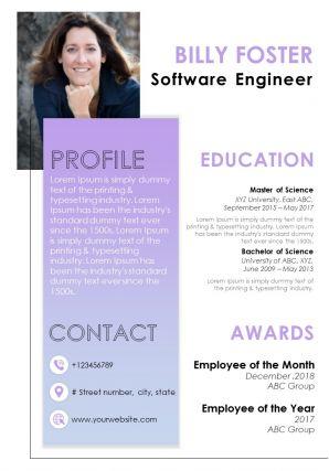 Impressive Visual Resume Design For Applying For Job
