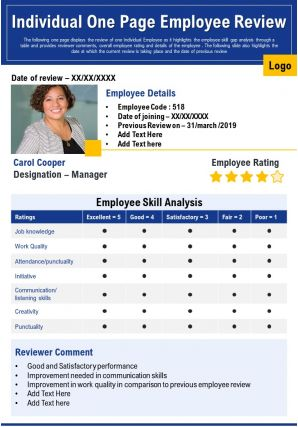 Individual One Page Employee Review Presentation Report Infographic PPT PDF Document