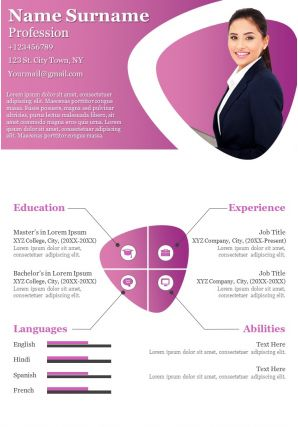 Infographic Resume Creative Sample Design Template For Self Introduction