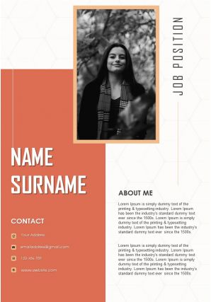 Inspiring Resume Design A4 Template To Introduce Yourself