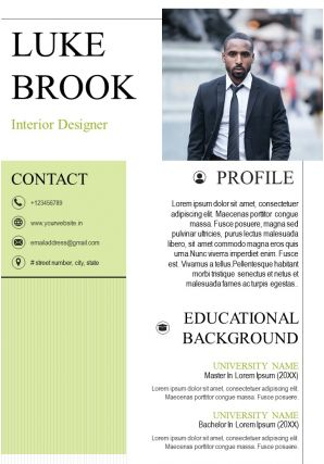 Interior Designer Resume Sample A4 CV Design