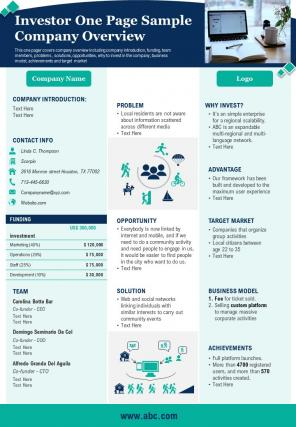 Investor One Page Sample Company Overview Presentation Report Infographic PPT PDF Document