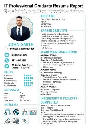 IT Professional Graduate Resume Report Presentation Report Infographic PPT PDF Document