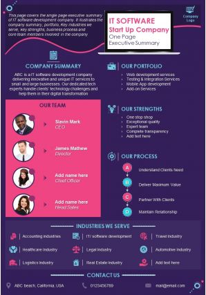 IT Software Start Up Company One Page Executive Summary Presentation Report Infographic PPT PDF Document
