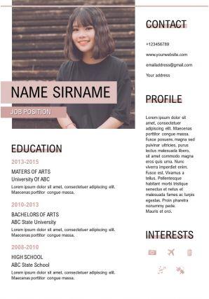 Job Application Sample CV Template