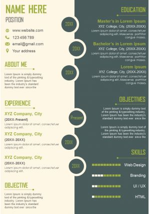 Job Resume A4 Size 2 Page CV Design Template