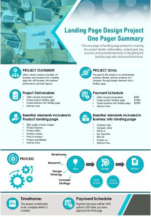 Landing Page Design Project One Pager Summary Presentation Report Infographic PPT PDF Document