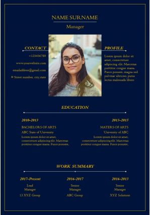Manager Resume Format With Picture