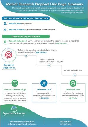Market Research Proposal One Page Summary Presentation Report Infographic PPT PDF Document