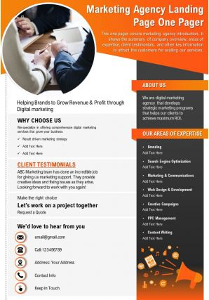 Marketing Agency Landing Page One Pager Presentation Report Infographic PPT PDF Document