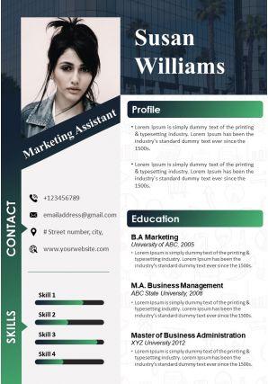 Marketing Assistant Resume Template CV Sample