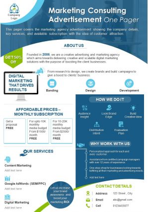 Marketing Consulting Advertisement One Pager Presentation Report Infographic PPT PDF Document