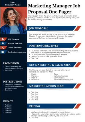 Marketing Manager Job Proposal One Pager Presentation Report Infographic PPT PDF Document