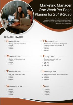 Marketing Manager One Week Per Page Planner For 2019 2020 Presentation Report Infographic PPT PDF Document