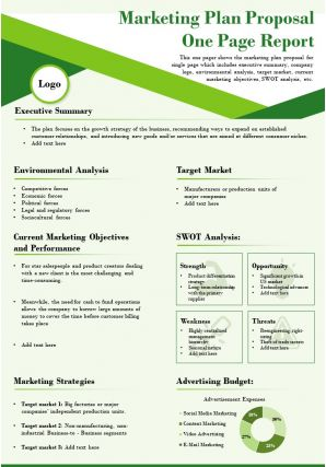 Marketing Plan Proposal One Page Report Presentation Report Infographic PPT PDF Document