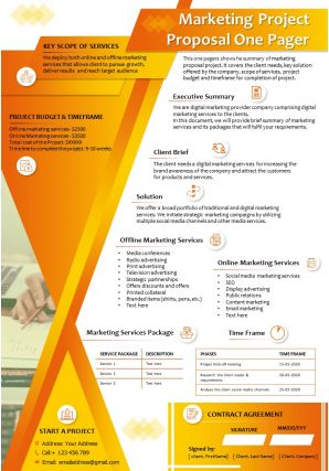 Marketing Project Proposal One Pager Presentation Report Infographic PPT PDF Document