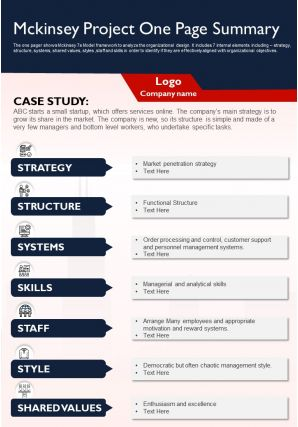 Mckinsey Project One Page Summary Presentation Report Infographic PPT PDF Document