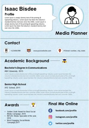 Media Planner Resume And CV Template Fully Editable