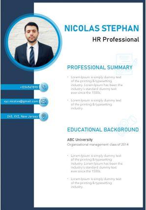 Minimalist Resume Template Design For HR Professionals