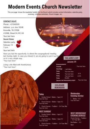 Modern Events Church Newsletter Presentation Report Infographic PPT PDF Document