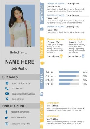 Modern Infographic Resume CV Design Template