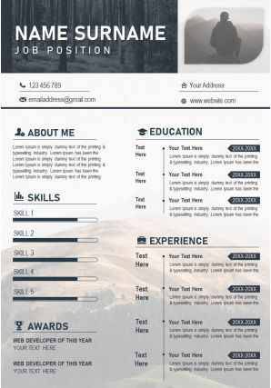 Modern Resume Illustration CV PPT Design Editable Template