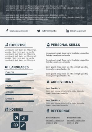 Modern Resume Illustration CV PPT Design Editable Template