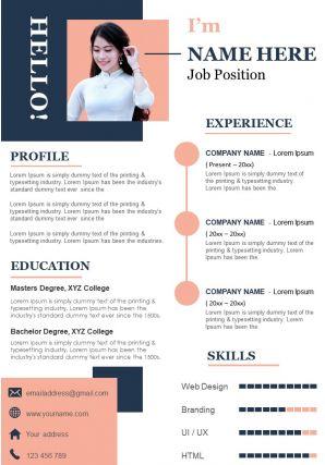 Modern Resume Sample Template CV A4 Download