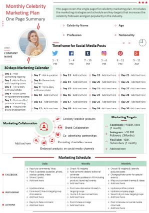 Monthly Celebrity Marketing Plan One Page Summary Presentation Report Infographic PPT PDF Document