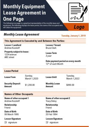 Monthly Equipment Lease Agreement In One Page Presentation Report Infographic PPT PDF Document