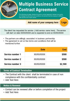 Multiple Business Service Contract Agreement Presentation Report Infographic PPT PDF Document