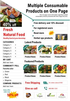 Multiple Consumable Products On One Page Presentation Report Infographic PPT PDF Document
