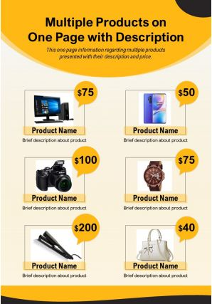 Multiple Products On One Page With Description Presentation Report Infographic PPT PDF Document