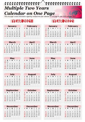 Multiple Two Years Calendar On One Page Presentation Report PPT PDF Document