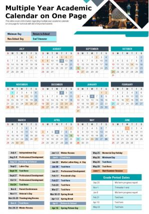 Multiple Year Academic Calendar On One Page Presentation Report PPT PDF Document