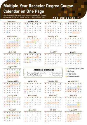 Multiple Year Bachelor Degree Course Calendar On One Page Report PPT PDF Document