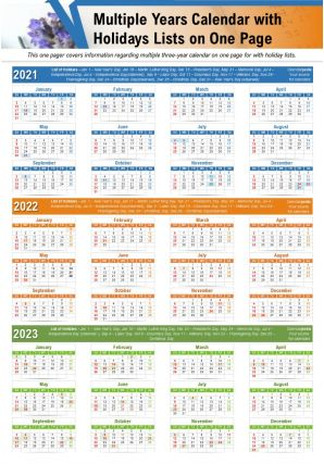 Multiple Years Calendar With Holidays Lists On One Page Report PPT PDF Document