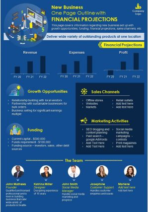 New Business One Page Outline With Financial Projections Presentation Report Infographic PPT PDF Document
