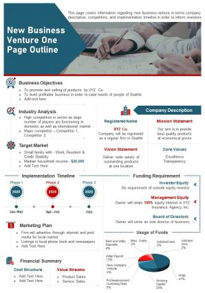 New Business Venture One Page Outline Presentation Report Infographic PPT PDF Document