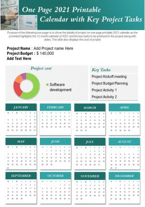 One Page 2021 Printable Calendar With Key Project Tasks Presentation Report Infographic PPT PDF Document