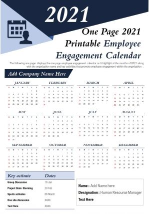 One Page 2021 Printable Employee Engagement Calendar Presentation Report Infographic PPT PDF Document