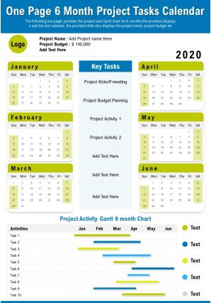 One Page 6 Month Project Tasks Calendar Presentation Report Infographic PPT PDF Document